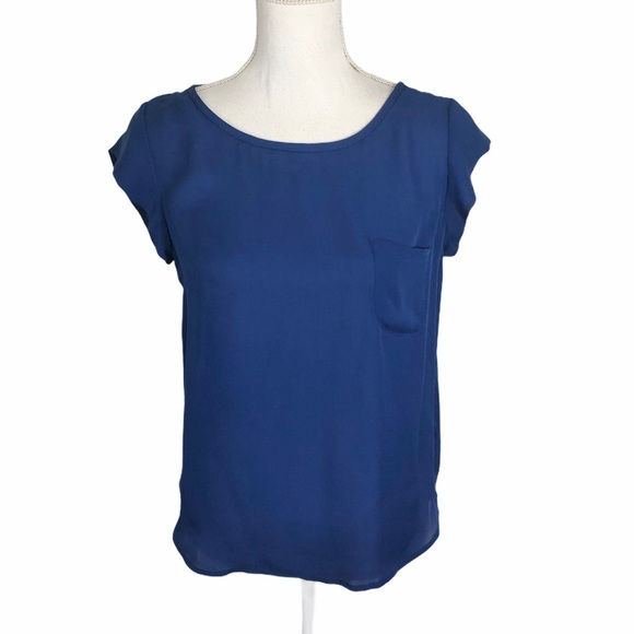 Joie Royal Blue Pocket Blouse Sz XS
